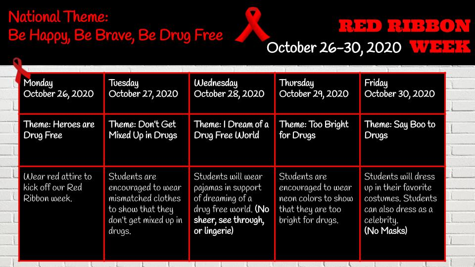2020 Red Ribbon Week Daily Events